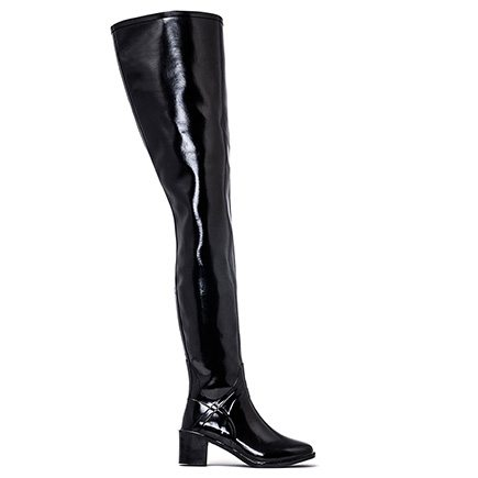 Acquo Manhattan, A thigh high semi glossy wellington boot model. 80 cm shaft – 6 cm heel