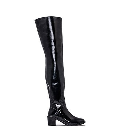 Acquo Savannah, A fashionable semi glossy black wellington boot model. 70 cm shaft – 6 cm heel
