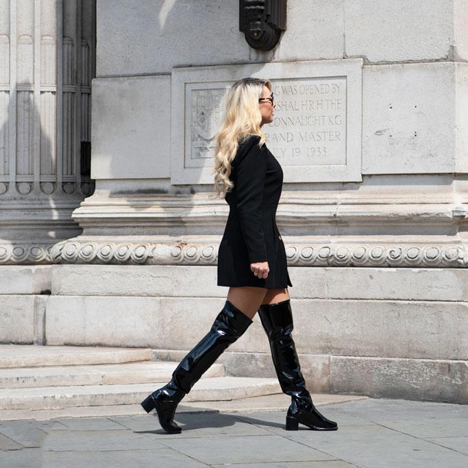 Brown high heel OTK boots with hose | Overknee stiefel